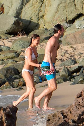 Pippa MIddleton and husband James Matthews in St Barth's. Picture: IMP features/Eliotpress/MEGA