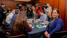Soundbites: Sinn Fein leader Mary Lou McDonald at a press briefing to set out the party's core priorities for Government yesterday. Photo: Gareth Chaney, Collins
