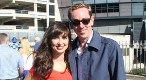 Ryan Tubridy and Aoibhinn Ni Shuilleabhain walk to the match. Photo: Mark Doyle