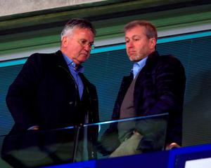 Chelsea interim manager Guus Hiddink (left) with Chelsea owner Roman Abramovich. Photo: Adam Davy/PA Wire