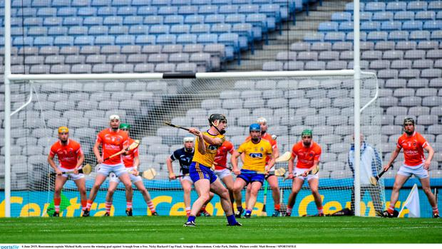 6 June 2015; Roscommon captain Micheal Kelly scores the winning goal against Armagh from a free. Nicky Rackard Cup Final, Armagh v Roscommon. Croke Park, Dublin.  Picture credit: Matt Browne / SPORTSFILE