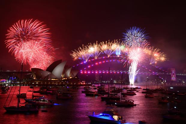 The midnight fireworks are seen from Mrs Macquarie's Chair during New Year's Eve celebrations in Sydney, Australia, January 1, 2020. AAP Image for City of Sydney/Mick Tsikas/via REUTERS