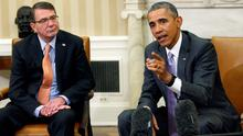 U.S. President Barack Obama speaks about Iran during his meeting with Secretary of Defense Ash Carter (L) in the Oval Office of the White House in Washington REUTERS/Kevin Lamarque