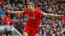 Liverpool's Steven Gerrard celebrates scoring their second goal against Queens Park Rangers in the Barclays Premier League at Anfield earlier this month, as Liverpool manager Brendan Rodgers has led the tributes ahead of Gerrard's farewell performance (Reuters / Carl Recine)