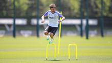 Bernardo Silva in action during training as Manchester City prepare for a return to competitive football. Photo: Tom Flathers/Manchester City FC via Getty Images