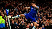 Diego Costa kicks the corner flag in celebration after scoring Chelsea's fourth goal at Stamford Bridge yesterday. Photo: Adam Davy/PA Wire
