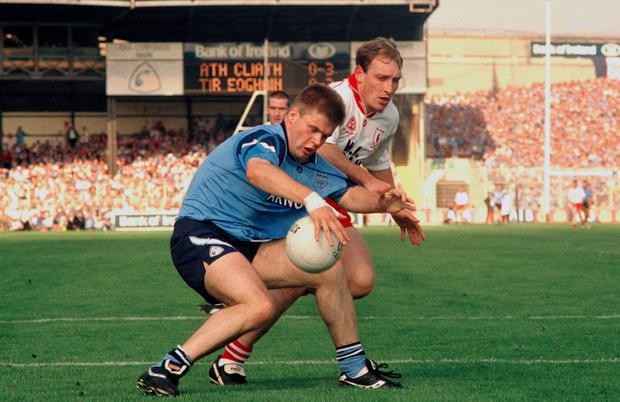 BATTLER: Dessie Farrell in action for Dublin against Fay Devlin of Tyrone during the All-Ireland SFC final at Croke Park in 1995. Photo: Ray McManus/SPORTSFILE