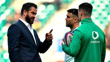 Ireland head coach Andy Farrell speaks to Conor Murray and Johnny Sexton ahead of the Six Nations clash with England last February. Photo: Brendan Moran/Sportsfile