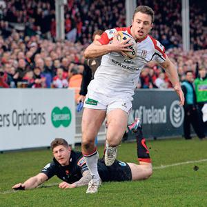 Tommy Bowe leaves Will Harries down and out on his way to scoring Ulster's first try Ravenhill