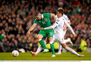 29 March 2015; Jon Walters, Republic of Ireland, is tackled by Lukasz Szukala, Poland. UEFA EURO 2016 Championship Qualifier, Group D, Republic of Ireland v Poland. Aviva Stadium, Lansdowne Road, Dublin. Picture credit: Pat Murphy / SPORTSFILE
