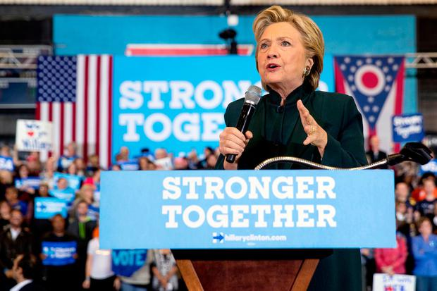 Democratic presidential candidate Hillary Clinton speaks at a rally at Cuyahoga Community College in Cleveland, Friday, Oct. 21, 2016. (AP Photo/Andrew Harnik)