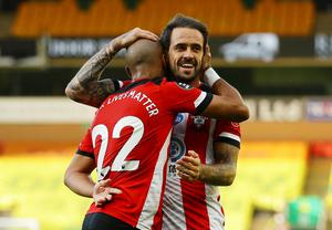 Danny Ings celebrates Southampton's first goal in the 3-0 win over Norwich. Richard Heathcote/Pool via REUTERS