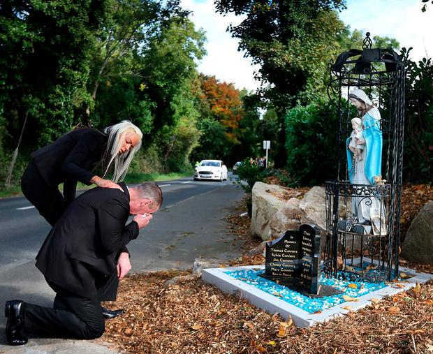 Harry Gilbert grieves for his daughter Tara, who died in the Carrickmines fire a year ago. Photo: Steve Humphreys