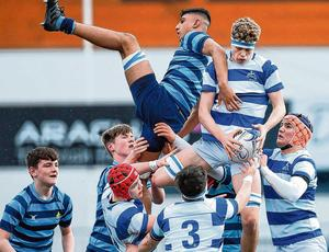 Michael Colreavy of Blackrock College and Castleknock's Wali Khwaja contest a lineout during their Leinster Schools Junior Cup semi-final. Photo: Ramsey Cardy/Sportsfile