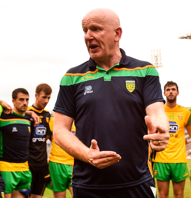 Bounce back: Donegal manager Declan Bonner rallies his troops after their defeat to Dublin last week in Croke Park. Photo: Sportsfile