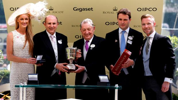 ASCOT, ENGLAND - JUNE 18:  Storm Uechtritz, Michael Tabor, Derrick Smith and Ronan Keating  present the Norfolk Stake on day 3 during Royal Ascot 2015 at Ascot racecourse on June 18, 2015 in Ascot, England.  (Photo by Tristan Fewings/Getty Images for Ascot Racecourse)