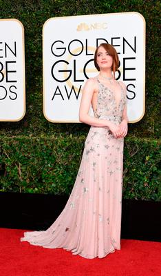 Actress Emma Stone arrives at the 74th annual Golden Globe Awards