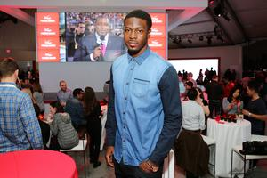 Professional football player A. J. Green celebrates the Super Bowl at the Verizon Power House Super Bowl viewing party at Bryant Park on February 2, 2014 in New York City.