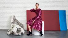 Eric O'Connor models the Sonic Dark Pink Sequin Dress, €695 by L.K. Bennett x Preen