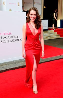 Charlotte Spencer arrives for the House of Fraser British Academy of Television Awards at the Theatre Royal, Drury Lane in London. PRESS ASSOCIATION Photo. Picture date: Sunday May 10, 2015. See PA story SHOWBIZ Bafta. Photo credit should read: Ian West/PA Wire