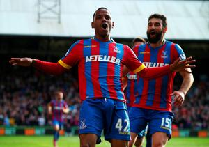 Jason Puncheon celebrates his equalising goal against Manchester United