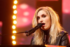 Molly Sterling performs Playing with Numbers, co-written with Greg French on the RTE Late Late Show Eurosong special. Picture Andres Poveda