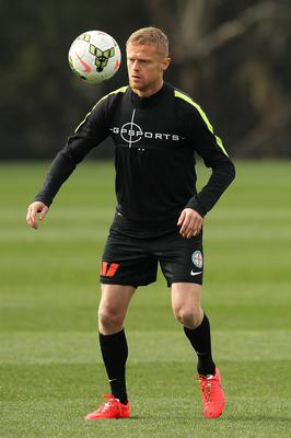Damien Duff of Melbourne City controls the ball during a training session at La Trobe University Sports Fields on September 15, 2014 in Melbourne, Australia
