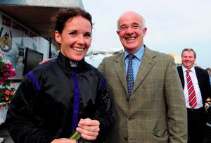 Katie Walsh celebrates with her father Ted after taking victory on Your Busy at the Guinness Kerry National at Listowel. Photo: HEALY RACING