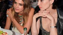 Cara Delevingne (L) and St. Vincent attend the de Grisogono 'Divine In Cannes' party at Hotel du Cap-Eden-Roc on May 19, 2015 in Cap d'Antibes, France.  (Photo by David M. Benett/Getty Images)