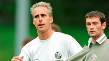 Alan Moore with then Ireland manager Mick McCarthy at a squad training session with the national team in 1996. Photo: Brendan Moran/Sportsfile