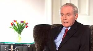 Martin McGuinness making the announcement on RTE News