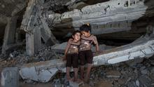 Hind (5) and Tahani Awedat (3) who were orphaned during the Gaza war in 2012 and saw their home destroyed by Israeli tanks during the 50-day war in 2014. Photo: Mark Condren
