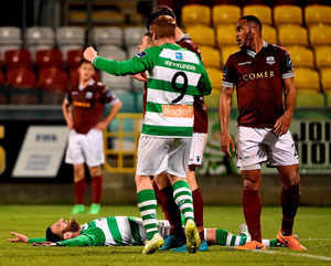 Gavin Brennan celebrates after scoring the first goal for Shamrock Rovers