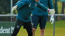 Republic of Ireland goalkeepers Shay Given, left, and David Forde during squad training
