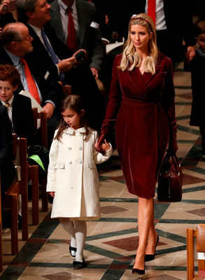 Ivanka Trump and daughter Arabella Rose Kushner arrive for a prayer service with U.S. President Donald Trump at Washington National Cathedral the morning after his inauguration, in Washington, U.S., January 21, 2017.