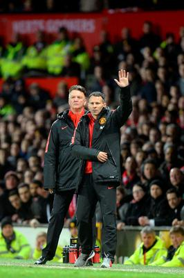 Manchester United assistant manager Ryan Giggs (right) gestures on the touchline alongside Manchester United manager Louis van Gaal (left) during the FA Cup, Sixth Round match at Old Trafford
