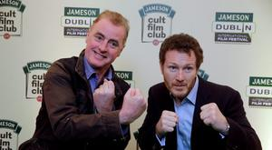 Actor Nick Moran with Dave Fanning at the Jameson Cult Film Club screening of Lock Stock and Two Smoking Barrels at the Tivoli  in Dublin. Picture:Arthur Carron