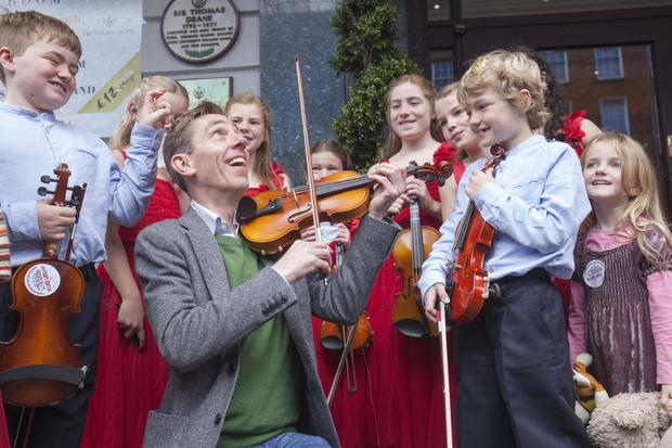 Ryan Tubridy with prospective performers for this year's Late Late Toy Show