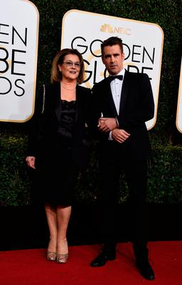 Actor Colin Farrell and his mother Rita Farrell arrive at the 74th annual Golden Globe Awards
