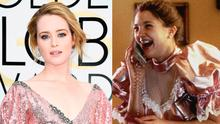 Claire Foy at the Golden Globes, left, and Drew Barrymore in Never Been Kissed, right