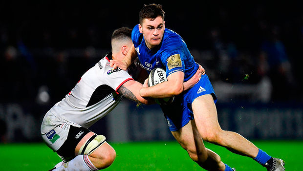 Conor O'Brien of Leinster is tackled by Matthew Dalton of Ulster