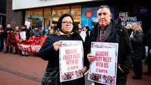 Susie Gaynor-McGovern and John Finn take part in the Clerys protest on North Earl Street in Dublin Photo: Gerry Mooney