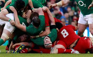 Ireland's Paul O'Connell (bottom, C) reacts during their Six Nations rugby union match against Wales at the Aviva stadium