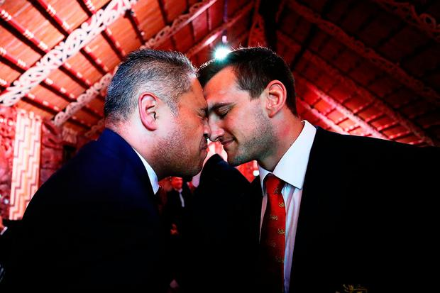 Lions captain Sam Warburton receives a hongi during the Lions' Maori Welcome at Waitangi Treaty Grounds. Photo by Hannah Peters/Getty Images