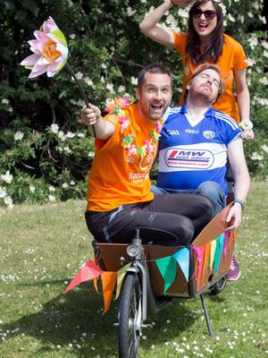"""NO FEE FOR 1ST REPRO  Get On Your Bike as RaboDirect Tour De Picnic Officially Launches Today   Last year Tour De Picnic broke the €1.2 million mark in funds raised for children's charities to date. Back for its seventh annual instalment, 2fm's Jennifer Maguire, Keith Walsh and Bernard O'Shea urged cyclists 'to get on their bike and get riding and fundraising' for RaboDirect Tour de Picnic 2015. This year three very worthwhile charities will benefit from the funds raised – The ISPCC (Childline), Special Olympics Ireland and The Irish Youth Foundation. PIC PAUL SHARP/SHARPPIX   Brian McDermott, event organiser said """"Thanks to everyone who cycled and fundraised and to you the public for your generosity in sponsorship over the years. It's hard to believe that we started with only 30 cyclists six years ago and now we have 1,000 cyclists as well as runners, taking part. It's extraordinary what a huge difference we have been able to make to so many Irish people's lives through our charity partners. I would also like to welcome our new Sponsor RaboDirect, I look forward to what looks like an exciting partnership ahead"""".   Gail Banim, Head of Marketing RaboDirect said: """"We're thrilled to support an event that promises festival goers a healthy kickstart to their weekend and benefits these really worthwhile causes as well"""".   You can register to cycle or run RaboDirect Tour De Picnic 2015 through http://rabodirecttourdepicnic.com/ - a €50 deposit is all it takes to secure your place for a ticket to Ireland's biggest and best festival.  This deposit is also counted towards your final fund raising total. Everyone is asked to raise a minimum of €380 by Friday 14th August 2015.  This year you must have at least €150 euro raised by Friday June 19th to secure your place due to extremely high demand for Electric Picnic tickets. If you sign up after June 19th you must pay a deposit of €150 which counts towards your total €380."""
