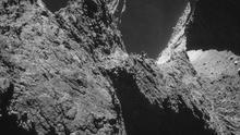 A handout image captured October 23, 2014, from a distance of about 7.8 km (4.8 miles) from the surface, of the comet 67P/Churyumov-Gerasimenko, made available by the European Space Agency (ESA) on November 11, 2014