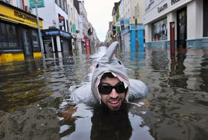 Sean McKeon pictured during severe flooding Oliver Plunkett street, Cork city. Picture: Daragh McSweeney/Provision