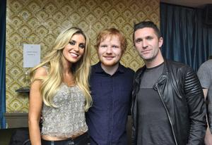 Robbie Keane (right) and his wife Claudine meet up with friend Ed Sheeran when they attended Eds VH1 Storytellers - Ed Sheeran  Live special concert at Whelans in Dublin, Ireland on Saturday 24 January 2015 Picture: Barbara Lindberg