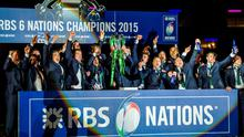 Ireland captain Paul O'Connell lifts the RBS Six Nations Rugby Championship trophy