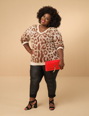 HEAR ME ROAR: V by Very Leopard Print V Neck Jumper, €40; Coated Jeggings, €32; V by Very Block Heel Sandals, €35; Valentino Bag, €94; Accessorize Simple Hoop Earring Set, €25; Treat Republic Personalised Horizontal Bar Necklace, €32; Treat Republic Personalised Ring Necklace, €32